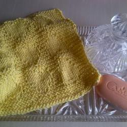Lemon Washcloth for Baby or Self - Handknitted in Scotland